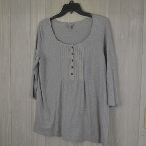 EUC Light Grey J. Jill Pleated Bib Henley  Sz M